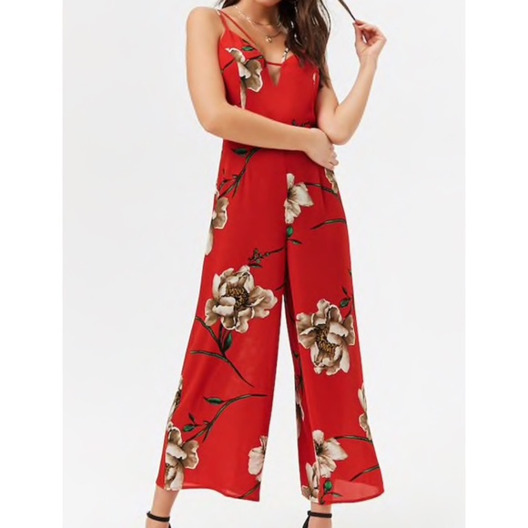 the latest detailed pictures united states Red Floral Jumpsuit NWT